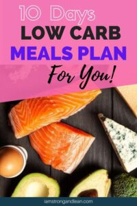 low carb foods with low carb meals plan as text